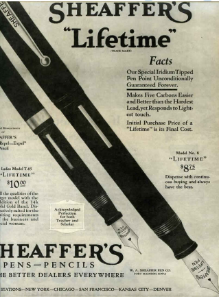 Old Newspaper Adverts for Sheaffer Pen